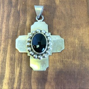 Large Sterling Silver / Onyx Cross Pendant Mexico